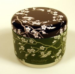 Green Plum Blossom Stackable Tea Tin: Image